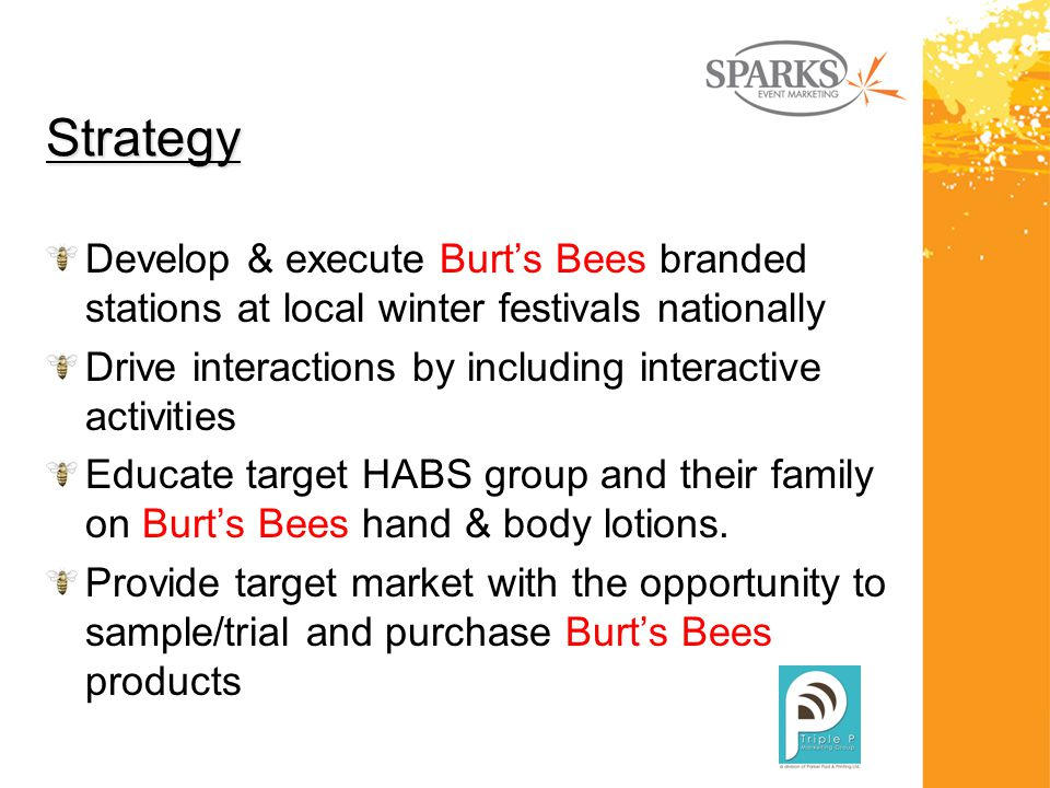 Strategy Develop & execute Burt's Bees branded stations at local winter festivals nationally Drive interactions by including interactive activities Educate target HABS group and their family on Burt's Bees hand & body lotions.