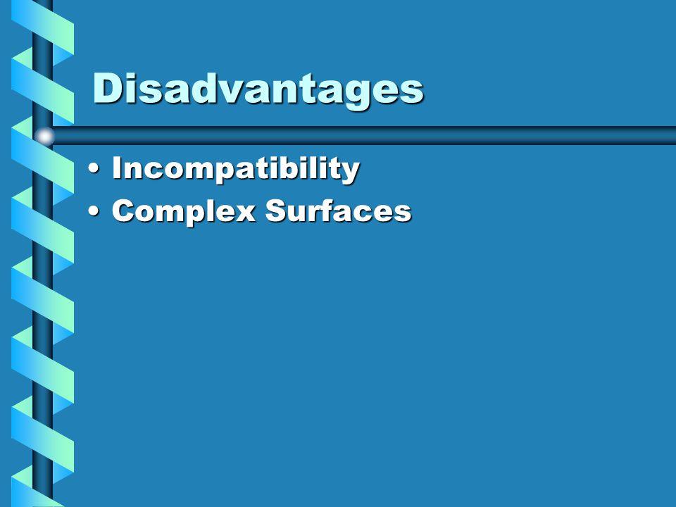 Disadvantages IncompatibilityIncompatibility Complex SurfacesComplex Surfaces