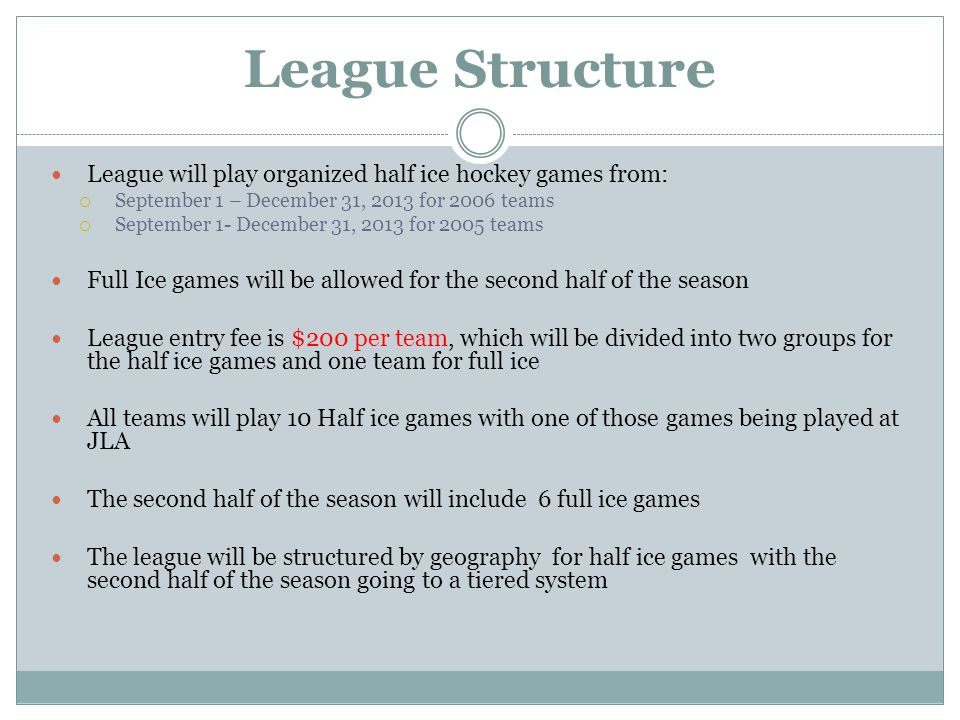 League Structure League will play organized half ice hockey games from:  September 1 – December 31, 2013 for 2006 teams  September 1- December 31, 2013 for 2005 teams Full Ice games will be allowed for the second half of the season League entry fee is $200 per team, which will be divided into two groups for the half ice games and one team for full ice All teams will play 10 Half ice games with one of those games being played at JLA The second half of the season will include 6 full ice games The league will be structured by geography for half ice games with the second half of the season going to a tiered system
