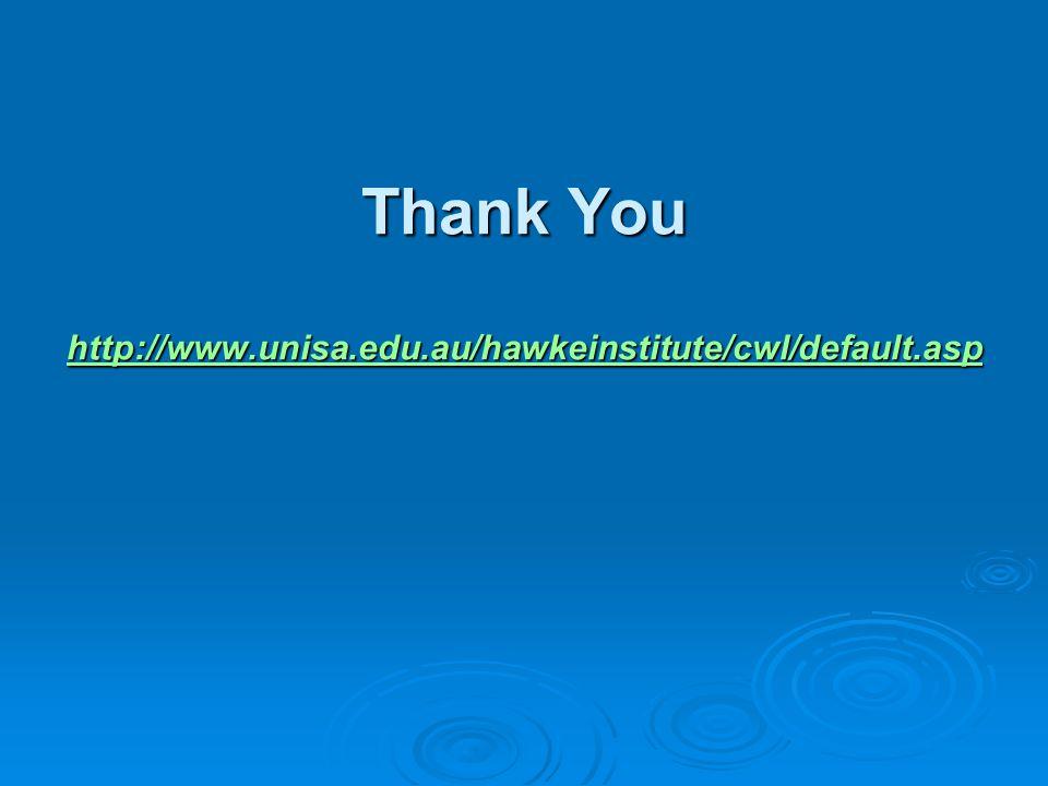 Thank You http://www.unisa.edu.au/hawkeinstitute/cwl/default.asp http://www.unisa.edu.au/hawkeinstitute/cwl/default.asp