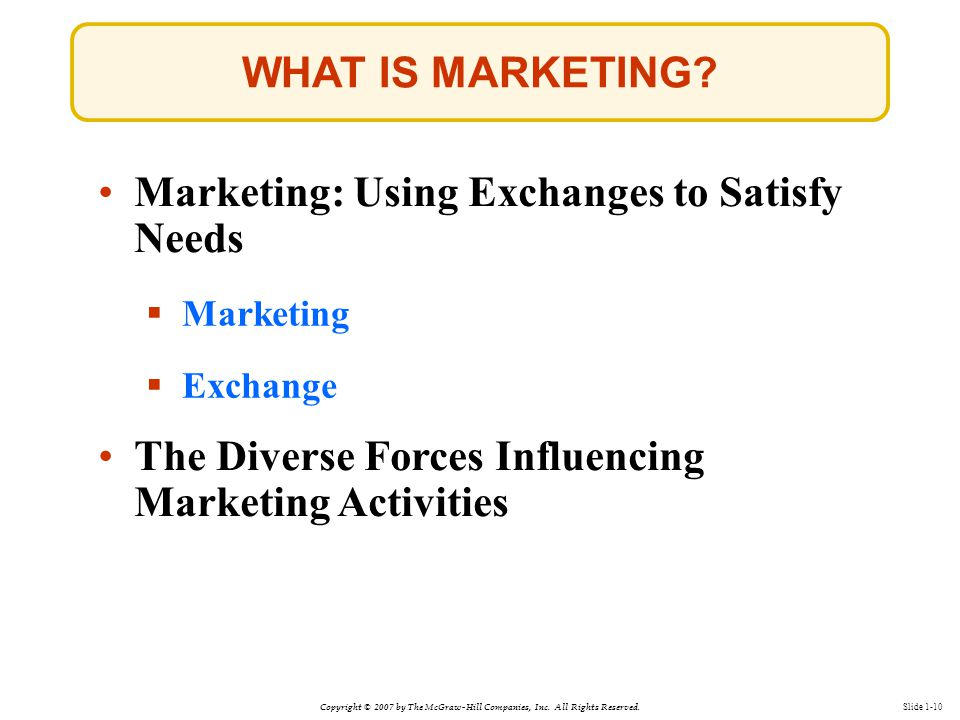 Copyright © 2007 by The McGraw-Hill Companies, Inc. All Rights Reserved. Slide 1-10 WHAT IS MARKETING? Marketing: Using Exchanges to Satisfy Needs  M
