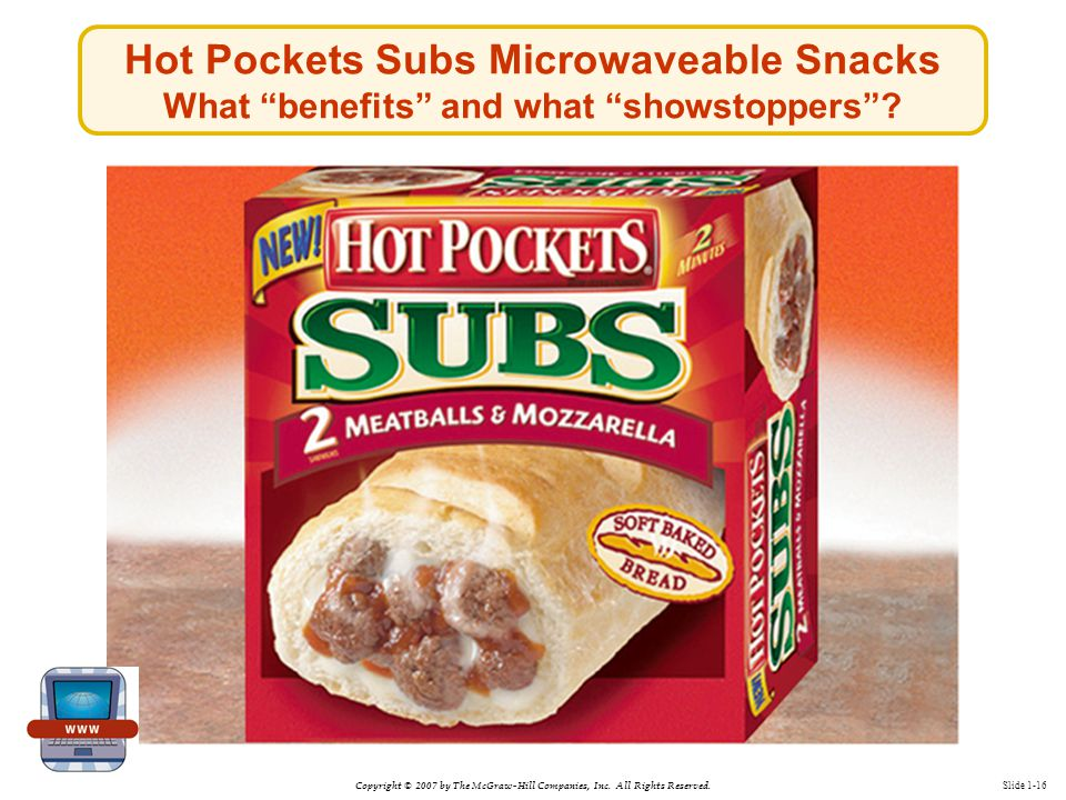 """Copyright © 2007 by The McGraw-Hill Companies, Inc. All Rights Reserved. Slide 1-16 Hot Pockets Subs Microwaveable Snacks What """"benefits"""" and what """"sh"""