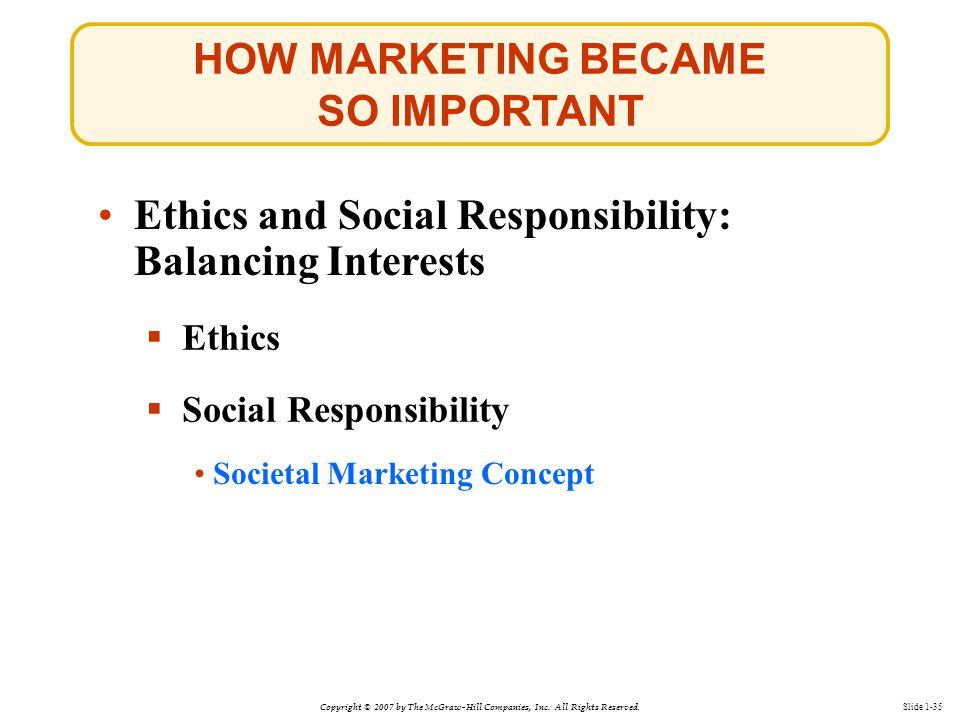 Copyright © 2007 by The McGraw-Hill Companies, Inc. All Rights Reserved. Slide 1-35 Societal Marketing Concept Ethics and Social Responsibility: Balan