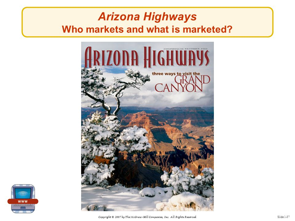Copyright © 2007 by The McGraw-Hill Companies, Inc. All Rights Reserved. Slide 1-37 Arizona Highways Who markets and what is marketed?