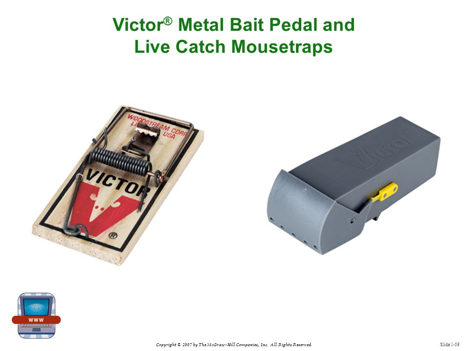 Copyright © 2007 by The McGraw-Hill Companies, Inc. All Rights Reserved. Slide 1-59 Victor ® Metal Bait Pedal and Live Catch Mousetraps
