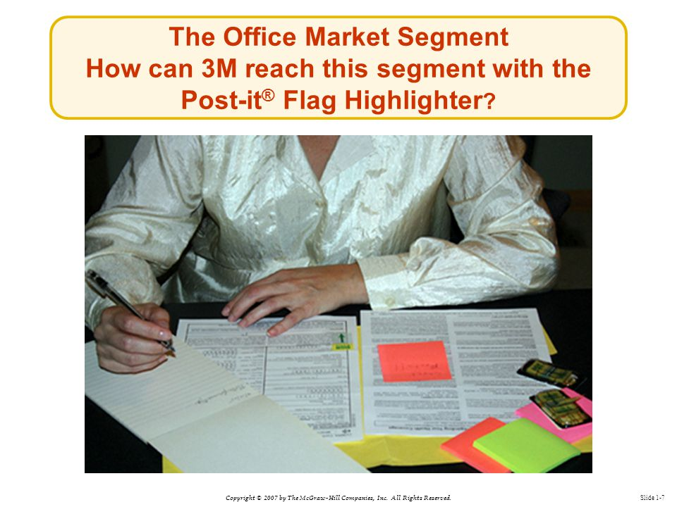 Copyright © 2007 by The McGraw-Hill Companies, Inc. All Rights Reserved. Slide 1-7 The Office Market Segment How can 3M reach this segment with the Po