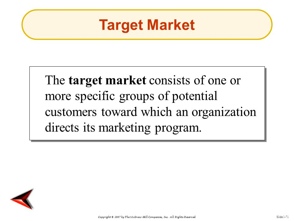Copyright © 2007 by The McGraw-Hill Companies, Inc. All Rights Reserved. Slide 1-71 The target market consists of one or more specific groups of poten
