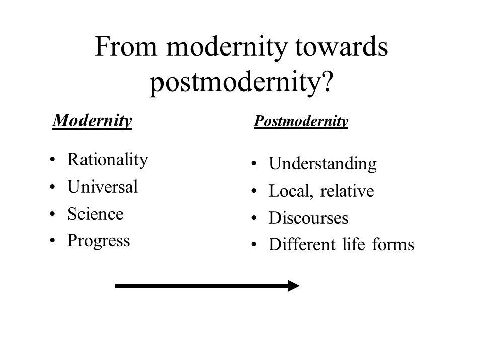 From modernity towards postmodernity.