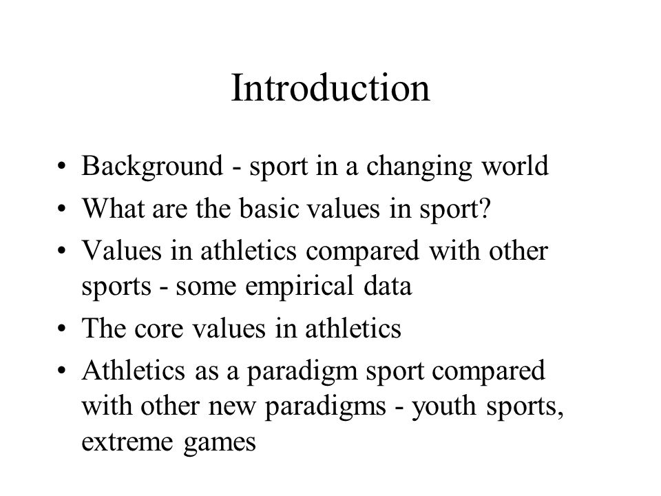 The individual and sport 1.