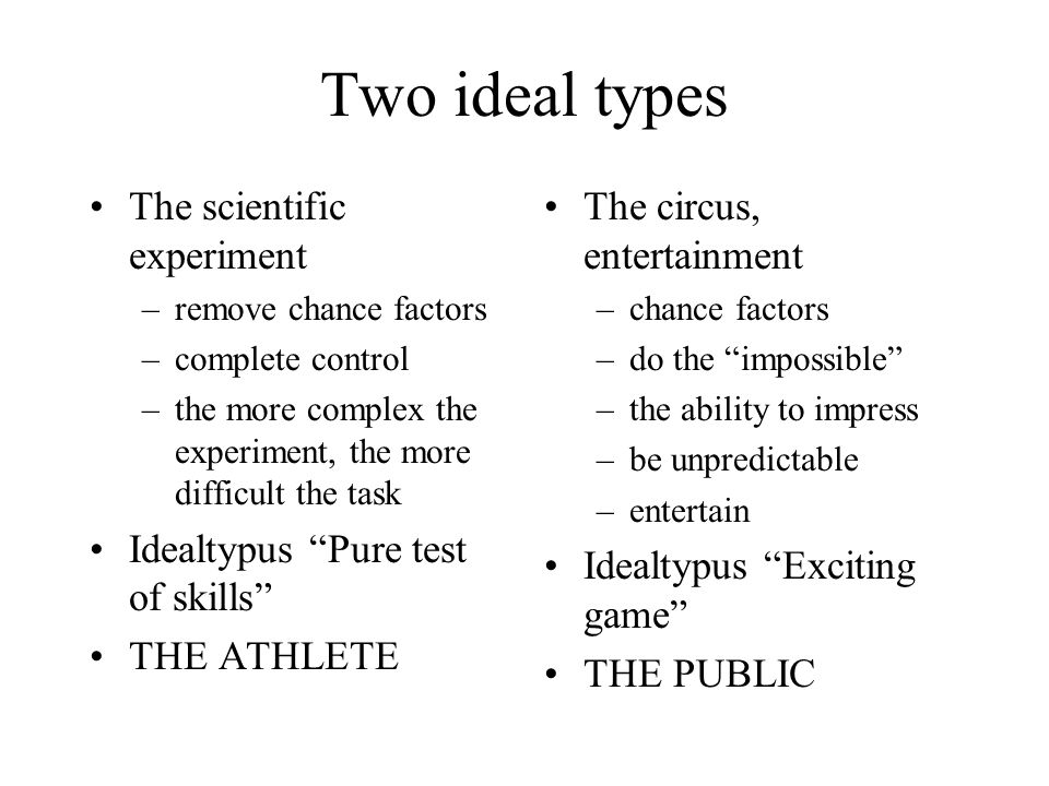 Two ideal types The scientific experiment –remove chance factors –complete control –the more complex the experiment, the more difficult the task Idealtypus Pure test of skills THE ATHLETE The circus, entertainment –chance factors –do the impossible –the ability to impress –be unpredictable –entertain Idealtypus Exciting game THE PUBLIC