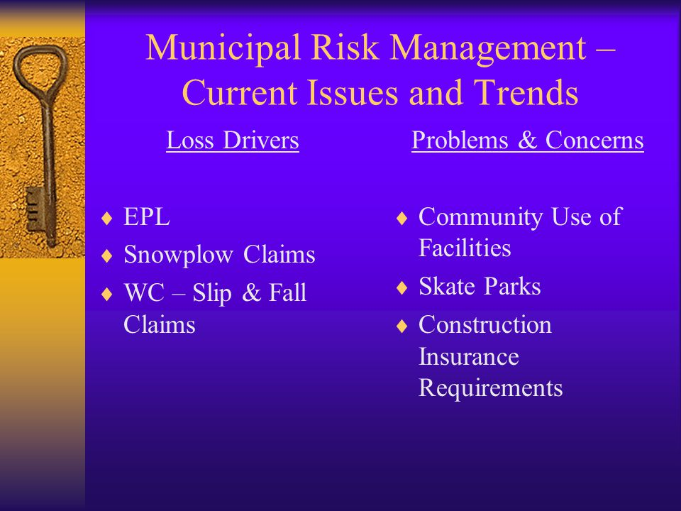 Municipal Risk Management – Current Issues and Trends Loss Drivers  EPL  Snowplow Claims  WC – Slip & Fall Claims Problems & Concerns  Community Use of Facilities  Skate Parks  Construction Insurance Requirements
