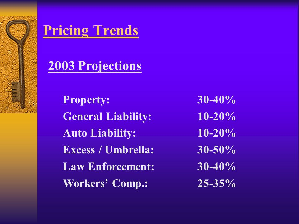 Pricing Trends 2003 Projections Property:30-40% General Liability:10-20% Auto Liability:10-20% Excess / Umbrella:30-50% Law Enforcement:30-40% Workers' Comp.:25-35%