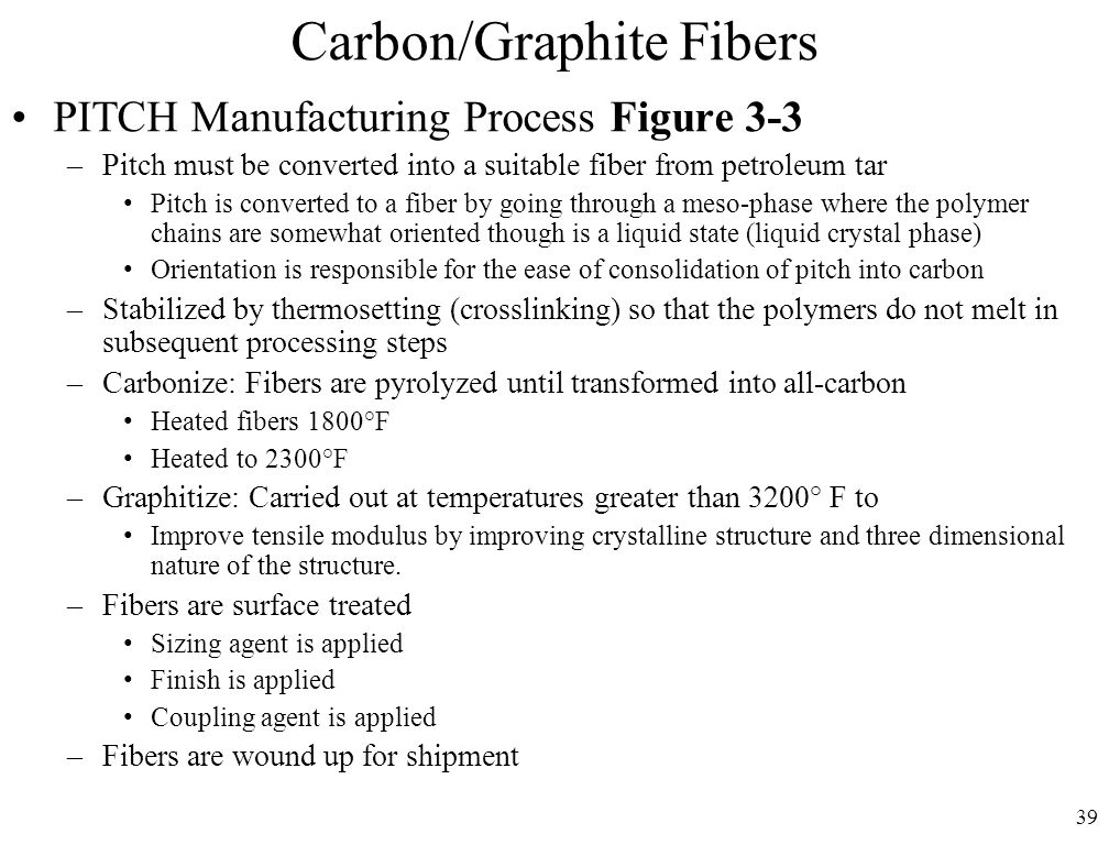 39 Carbon/Graphite Fibers PITCH Manufacturing Process Figure 3-3 –Pitch must be converted into a suitable fiber from petroleum tar Pitch is converted to a fiber by going through a meso-phase where the polymer chains are somewhat oriented though is a liquid state (liquid crystal phase) Orientation is responsible for the ease of consolidation of pitch into carbon –Stabilized by thermosetting (crosslinking) so that the polymers do not melt in subsequent processing steps –Carbonize: Fibers are pyrolyzed until transformed into all-carbon Heated fibers 1800°F Heated to 2300°F –Graphitize: Carried out at temperatures greater than 3200° F to Improve tensile modulus by improving crystalline structure and three dimensional nature of the structure.