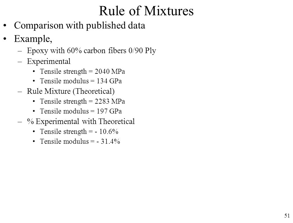 51 Rule of Mixtures Comparison with published data Example, –Epoxy with 60% carbon fibers 0/90 Ply –Experimental Tensile strength = 2040 MPa Tensile modulus = 134 GPa –Rule Mixture (Theoretical) Tensile strength = 2283 MPa Tensile modulus = 197 GPa –% Experimental with Theoretical Tensile strength = - 10.6% Tensile modulus = - 31.4%