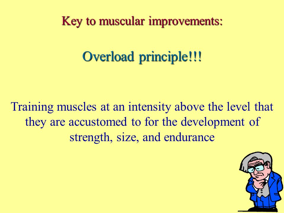 Key to muscular improvements: Overload principle!!.