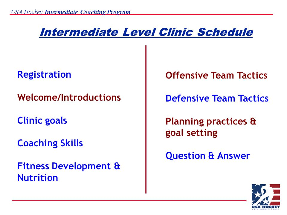 USA Hockey Intermediate Coaching Program Intermediate Level Clinic Schedule Registration Welcome/Introductions Clinic goals Coaching Skills Fitness Development & Nutrition Offensive Team Tactics Defensive Team Tactics Planning practices & goal setting Question & Answer