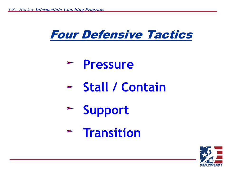USA Hockey Intermediate Coaching Program Four Defensive Tactics Pressure Stall / Contain Support Transition