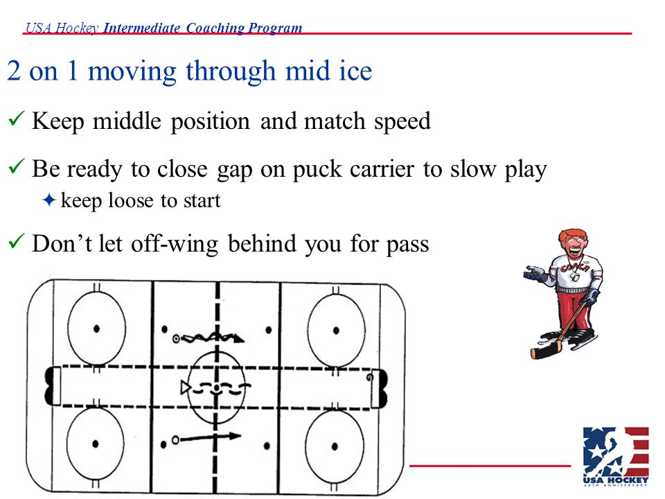 USA Hockey Intermediate Coaching Program 2 on 1 moving through mid ice Keep middle position and match speed Be ready to close gap on puck carrier to slow play  keep loose to start Don't let off-wing behind you for pass