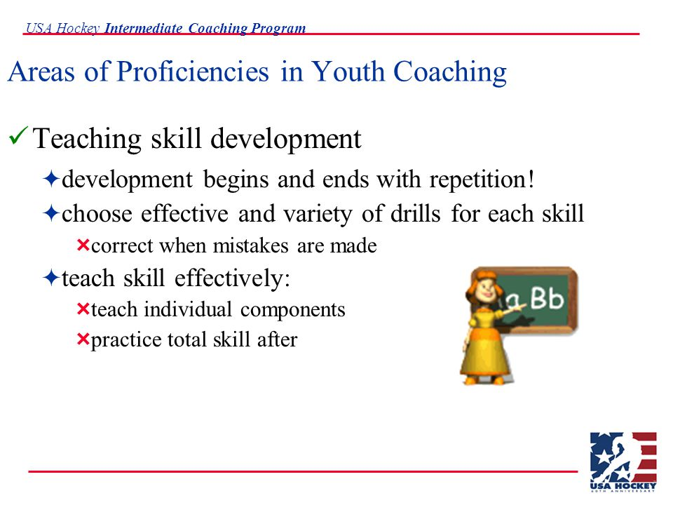 USA Hockey Intermediate Coaching Program Areas of Proficiencies in Youth Coaching Teaching team systems  systems are only an outline or guide  teach to read and react  comes with experience and practice  should maximize strengths and minimize weaknesses  break down systems and teach components  expect mistakes and confusion early on