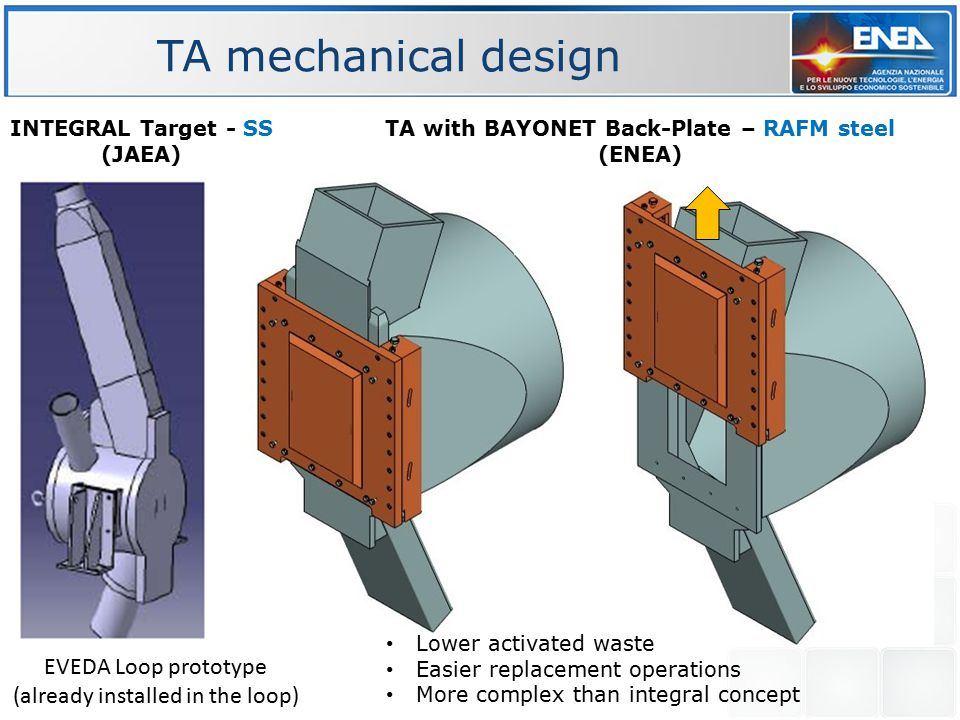 INTEGRAL Target - SS (JAEA) TA with BAYONET Back-Plate – RAFM steel (ENEA) Lower activated waste Easier replacement operations More complex than integ