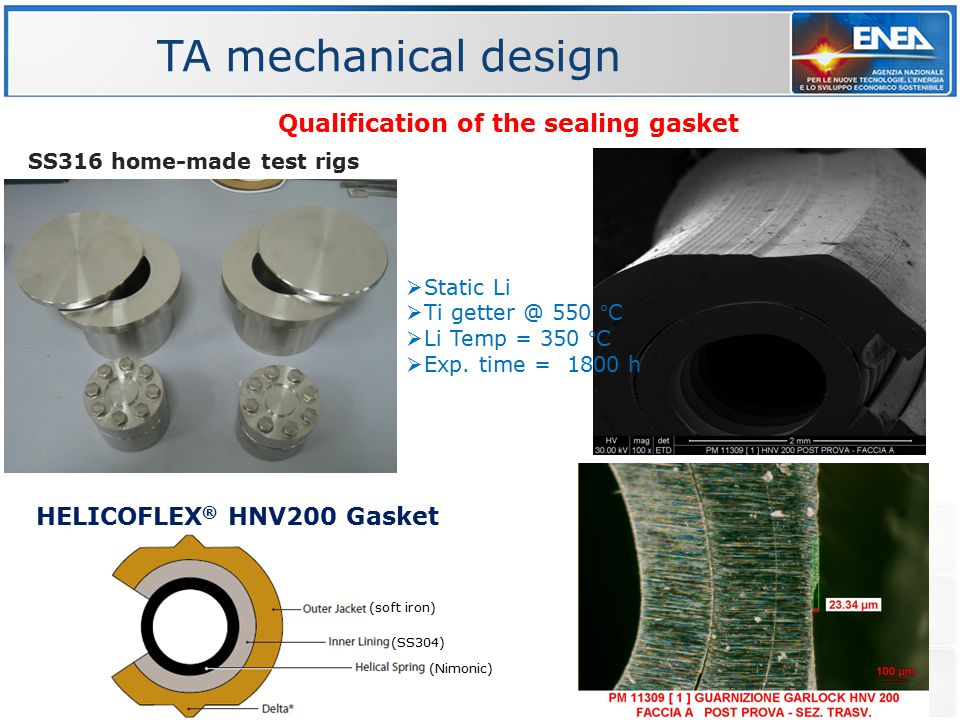 Qualification of the sealing gasket HELICOFLEX ® HNV200 Gasket  Static Li  Ti getter @ 550 °C  Li Temp = 350 °C  Exp. time = 1800 h SS316 home-mad