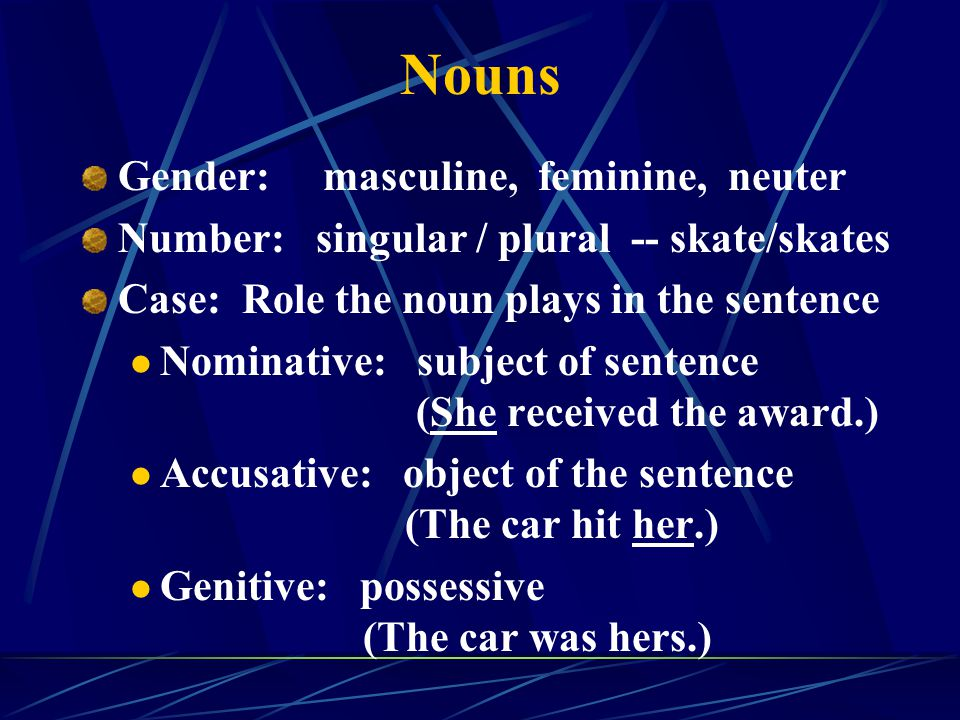 Nouns Gender: masculine, feminine, neuter Number: singular / plural -- skate/skates Case: Role the noun plays in the sentence Nominative: subject of s