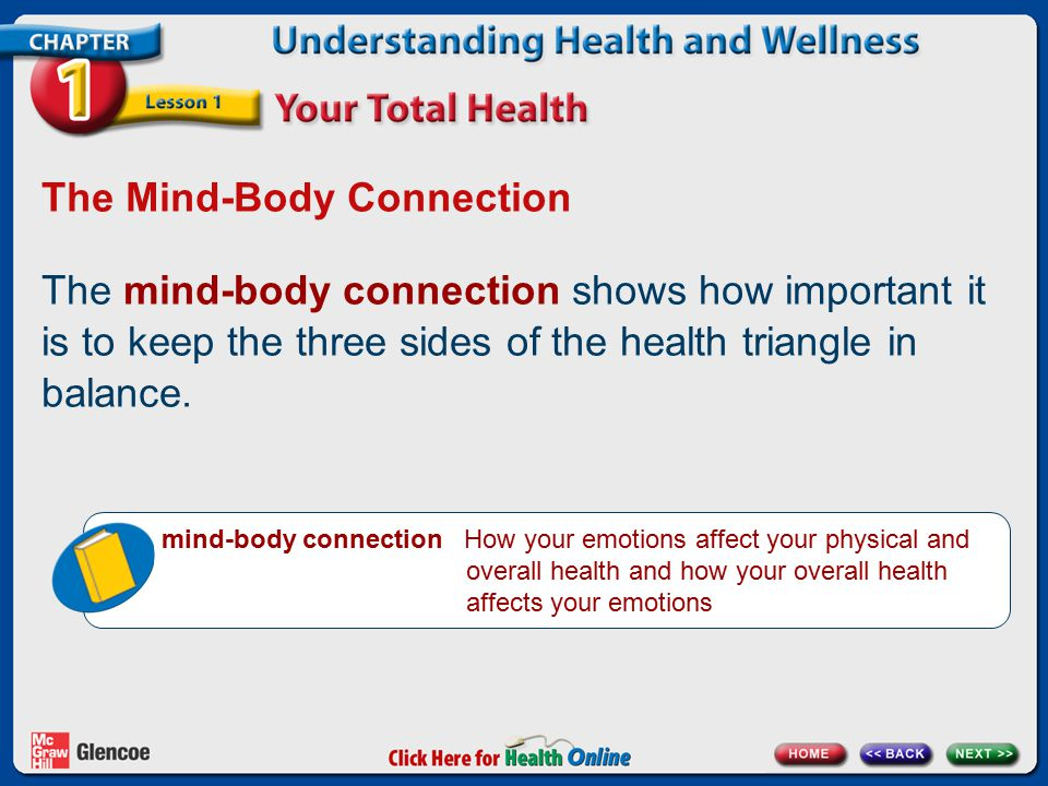 The Mind-Body Connection The mind-body connection shows how important it is to keep the three sides of the health triangle in balance.