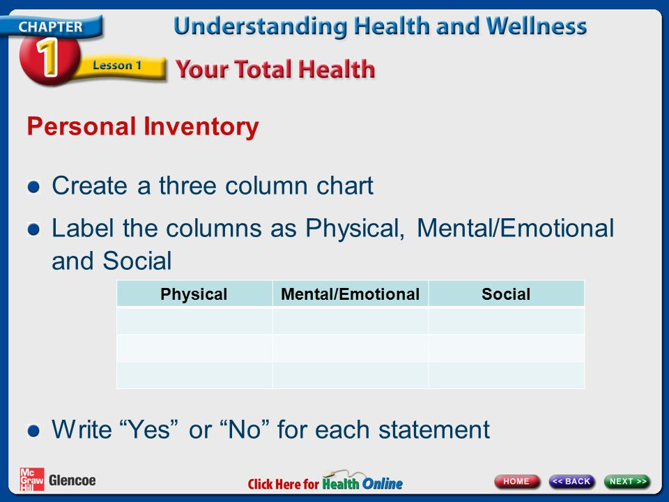 Personal Inventory Create a three column chart Label the columns as Physical, Mental/Emotional and Social Write Yes or No for each statement PhysicalMental/EmotionalSocial
