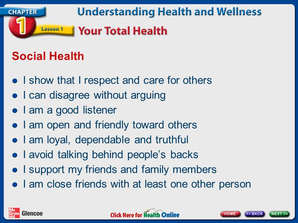 Social Health I show that I respect and care for others I can disagree without arguing I am a good listener I am open and friendly toward others I am