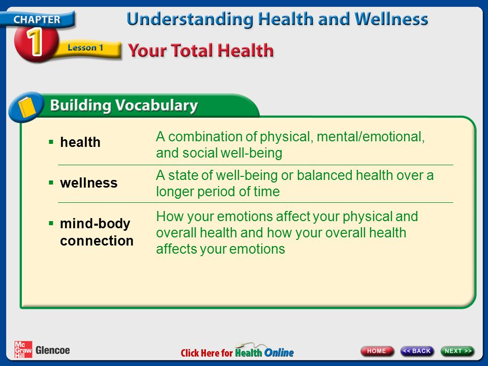  health  wellness  mind-body connection A combination of physical, mental/emotional, and social well-being A state of well-being or balanced health