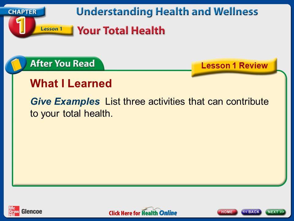 What I Learned Give Examples List three activities that can contribute to your total health. Lesson 1 Review