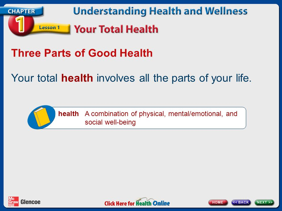 Three Parts of Good Health Your total health involves all the parts of your life. health A combination of physical, mental/emotional, and social well-