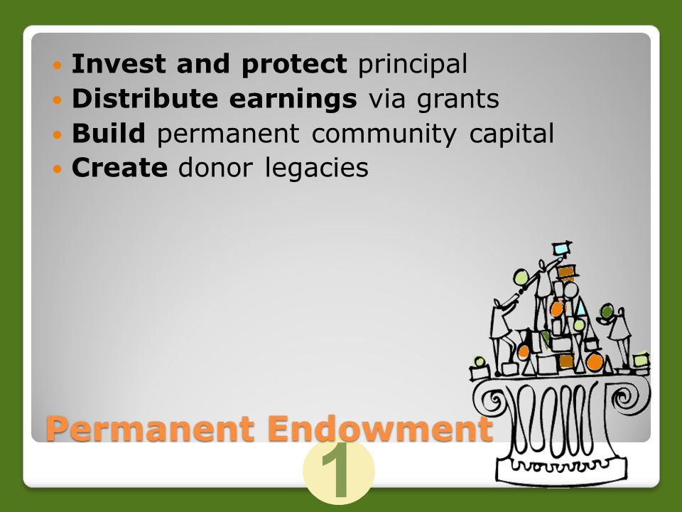 1 Invest and protect principal Distribute earnings via grants Build permanent community capital Create donor legacies