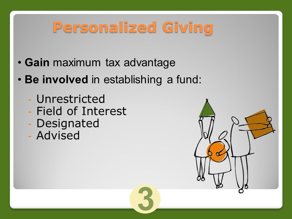 Personalized Giving - Unrestricted - Field of Interest - Designated - Advised Gain maximum tax advantage Be involved in establishing a fund: 3