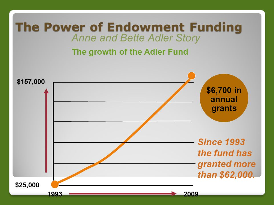The Power of Endowment Funding Anne and Bette Adler Story The growth of the Adler Fund 19932009 $157,000 $25,000 $6,700 in annual grants Since 1993 the fund has granted more than $62,000.