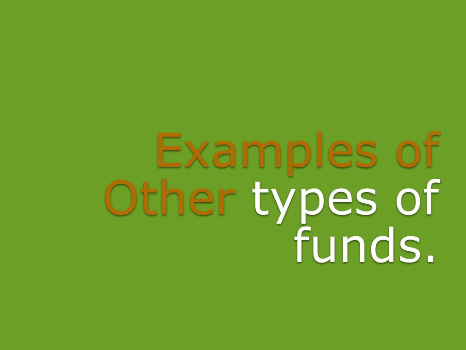 Examples of Other types of funds.