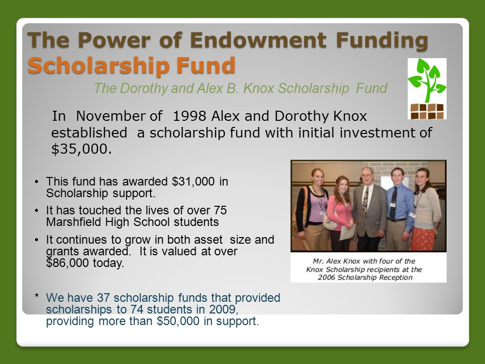 The Power of Endowment Funding Scholarship Fund In November of 1998 Alex and Dorothy Knox established a scholarship fund with initial investment of $35,000.