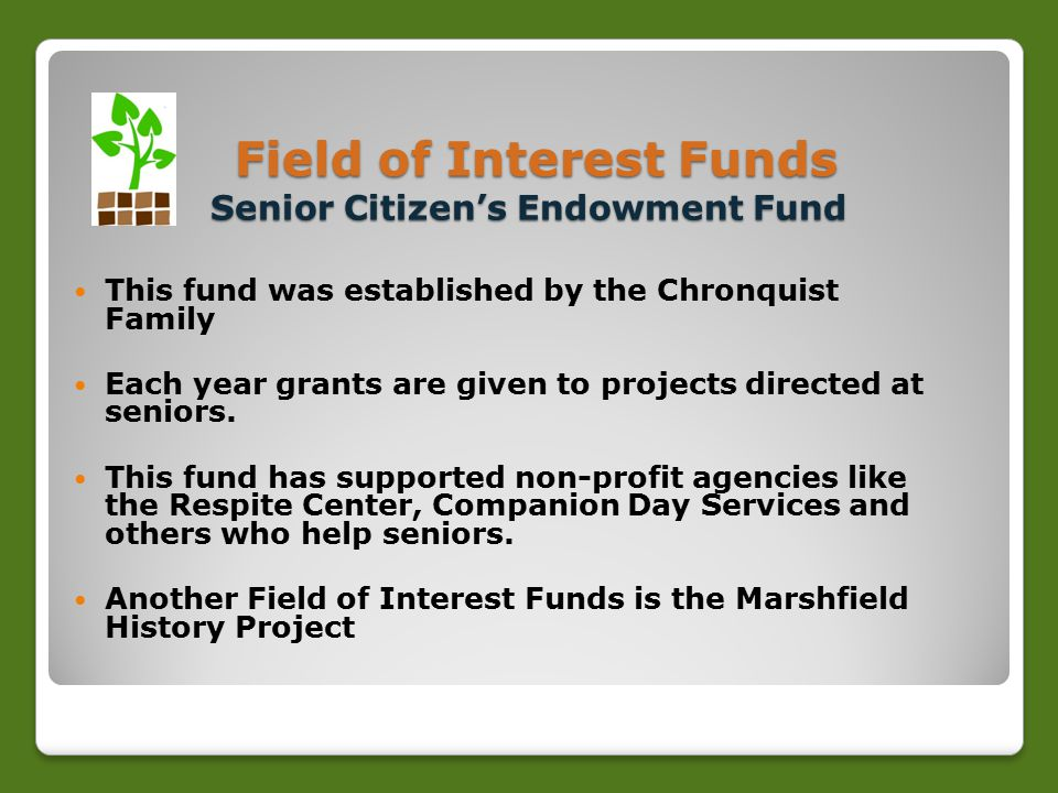 Field of Interest Funds Senior Citizen's Endowment Fund Field of Interest Funds Senior Citizen's Endowment Fund This fund was established by the Chronquist Family Each year grants are given to projects directed at seniors.