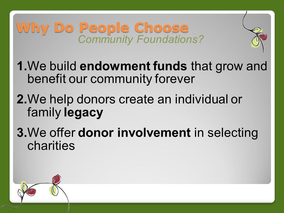 Why Do People Choose Community Foundations.