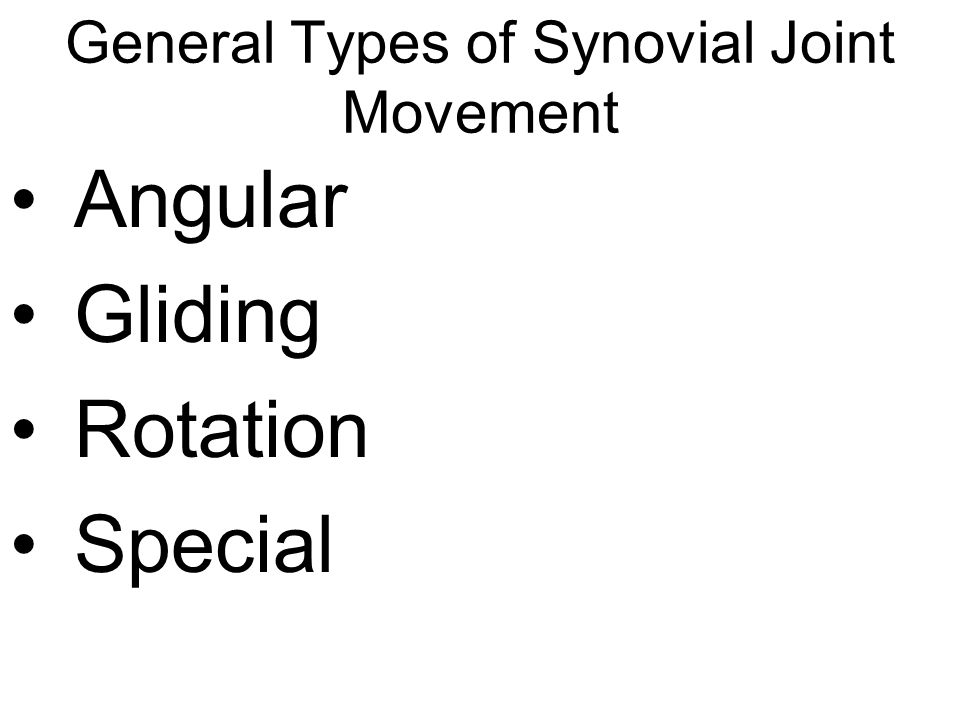 General Types of Synovial Joint Movement Angular Gliding Rotation Special