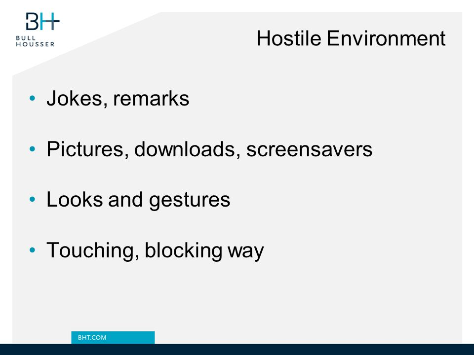 Hostile Environment Jokes, remarks Pictures, downloads, screensavers Looks and gestures Touching, blocking way