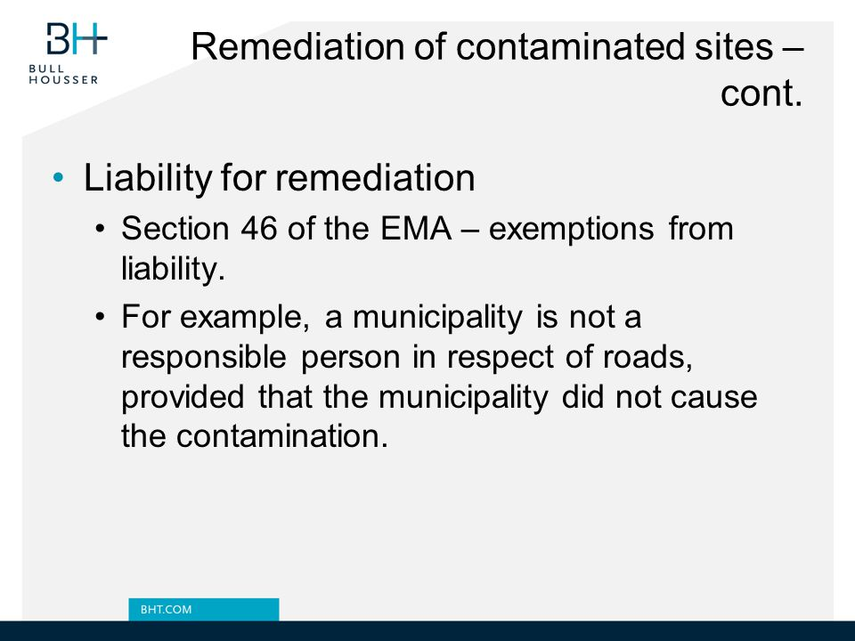 Remediation of contaminated sites – cont.