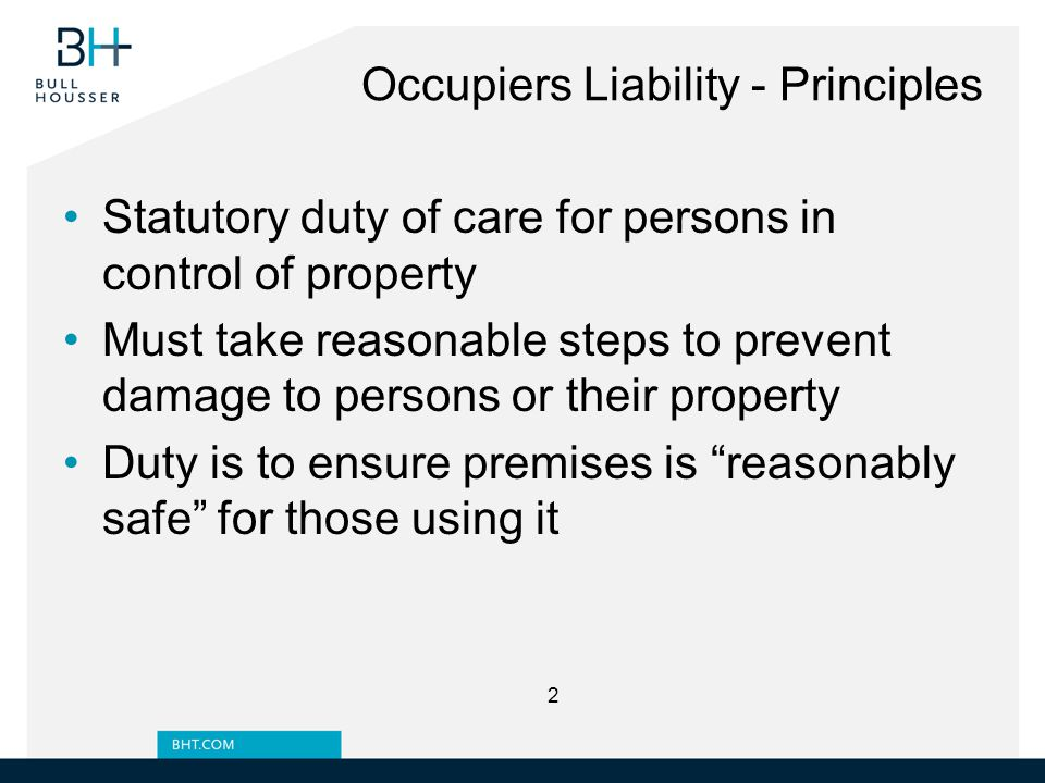 Exclusion of Liability Special care must be taken to draw the other party's attention to such clauses To rely on an indemnity or hold-harmless clause, defendant's negligence cannot be proximate cause of damage Licensing and lease agreements should give tenant responsibility / control over premises 33