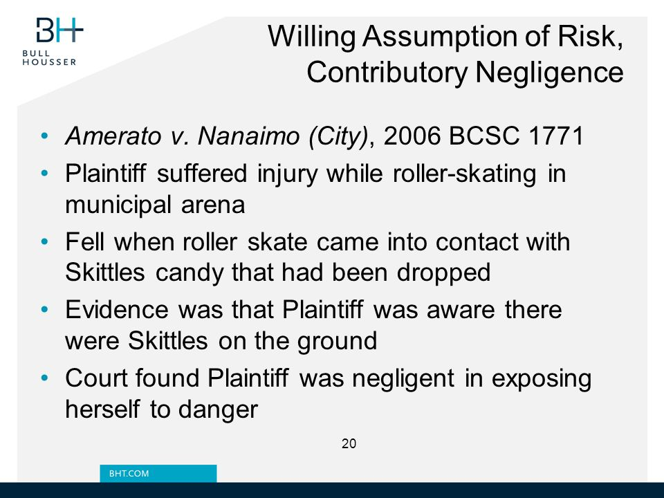 Willing Assumption of Risk, Contributory Negligence Amerato v.