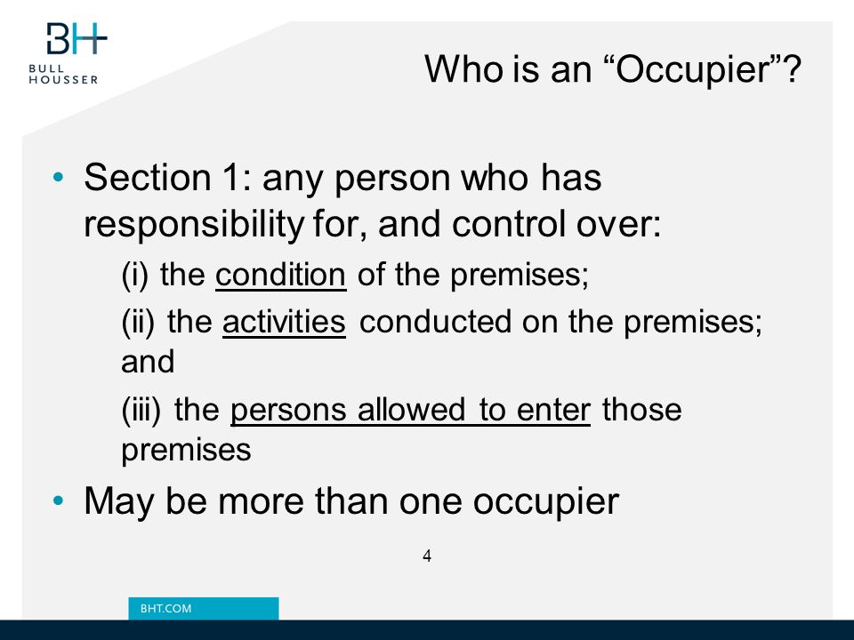 History of Past Incidents Past incidents do not mean occupier is presently liable Eg.