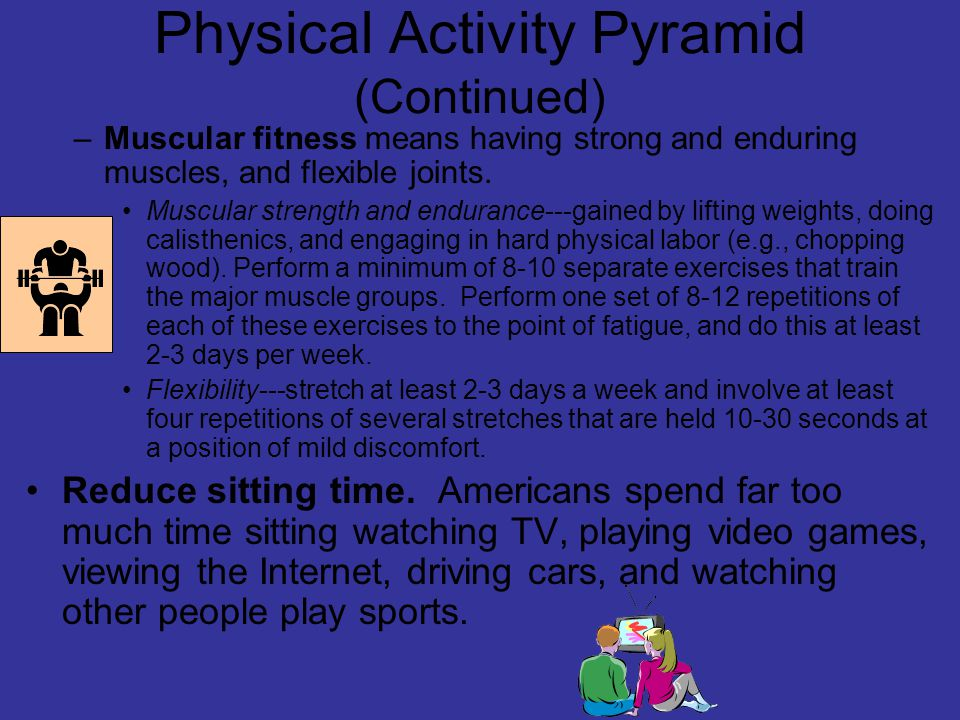 Physical Activity Pyramid (Continued) –Muscular fitness means having strong and enduring muscles, and flexible joints.