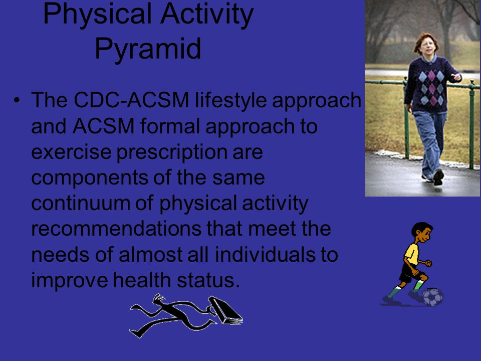 Physical Activity Pyramid The CDC-ACSM lifestyle approach and ACSM formal approach to exercise prescription are components of the same continuum of physical activity recommendations that meet the needs of almost all individuals to improve health status.