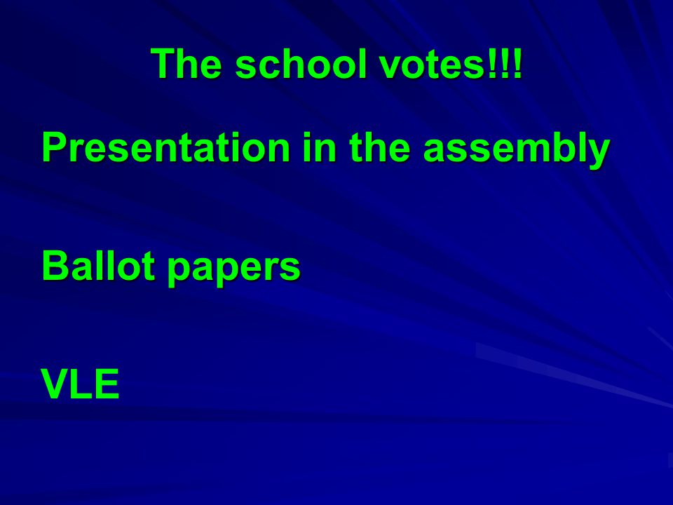 The school votes!!! Presentation in the assembly Ballot papers VLE
