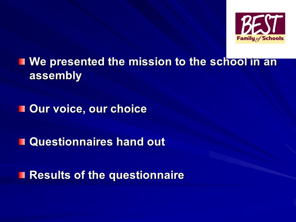 We presented the mission to the school in an assembly Our voice, our choice Questionnaires hand out Results of the questionnaire