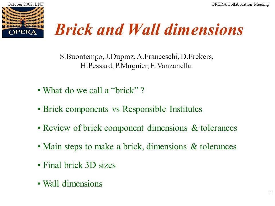 1 Brick and Wall dimensions S.Buontempo, J.Dupraz, A.Franceschi, D.Frekers, H.Pessard, P.Mugnier, E.Vanzanella.